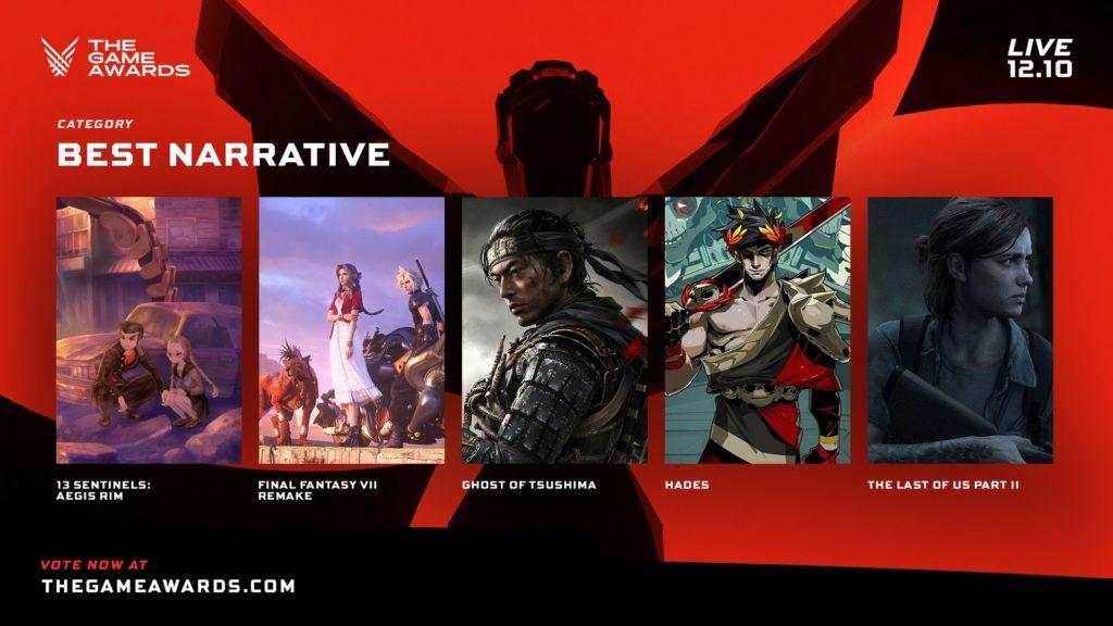 The Game Awards nominace na hry roku narrative