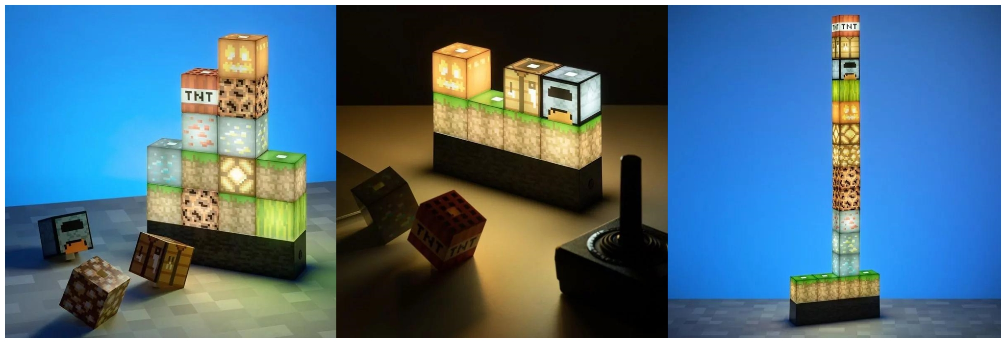 Originální lampičky s herními motivy pp6596mcf minecraft block building light square lifestyle 51 horz