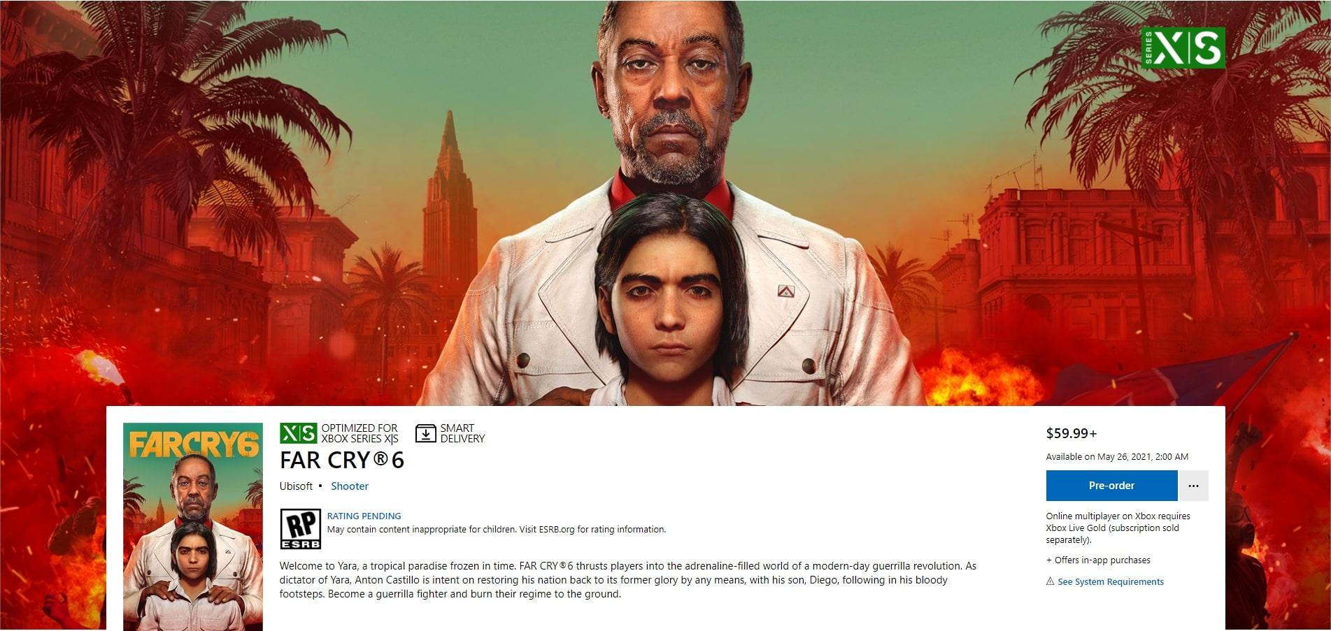 Microsoft omylem uveřejnil datum vydání Far Cry 6 screen farcry