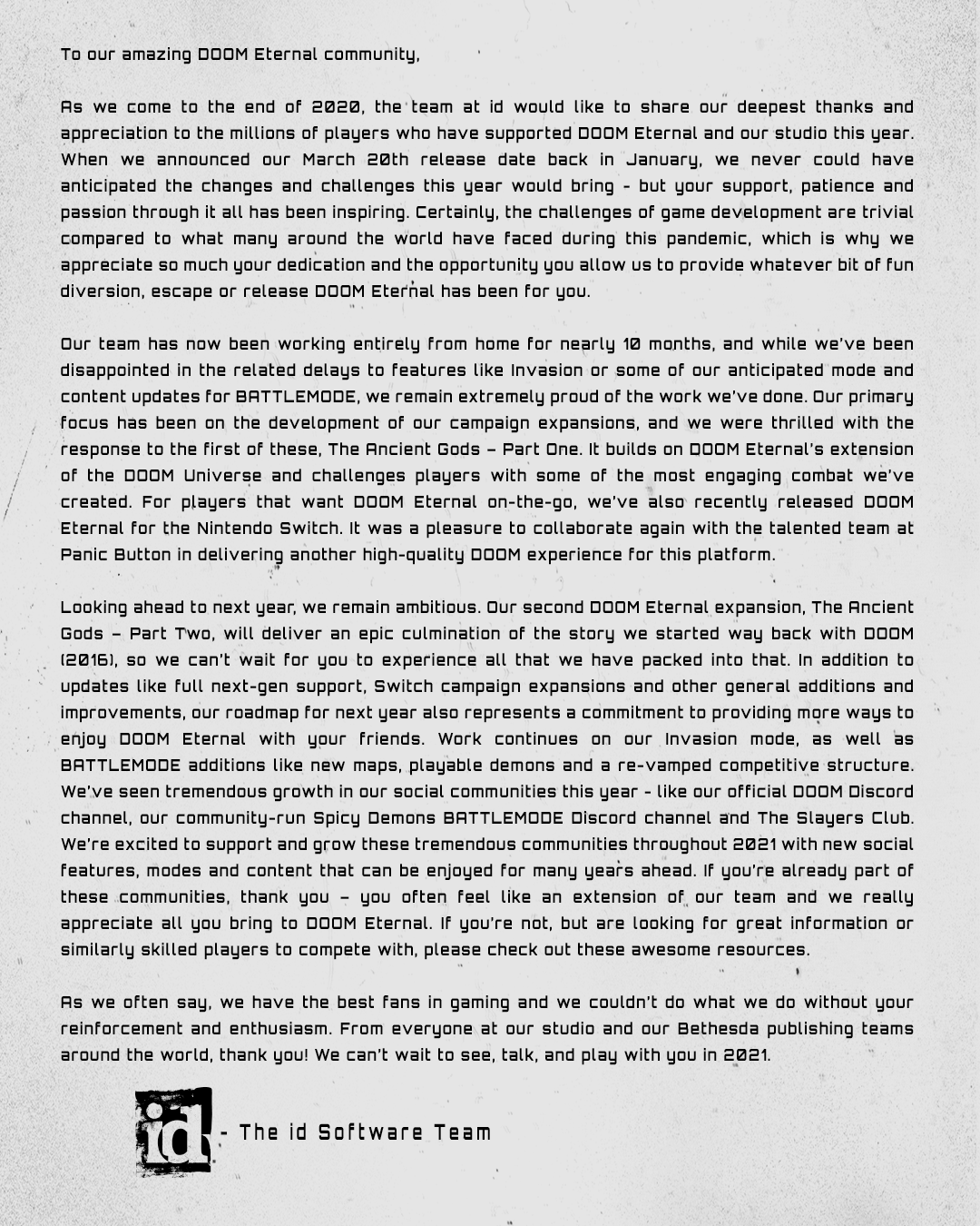 Dopis fanouškům DOOM Eternal ke konci roku 2020 Dopis