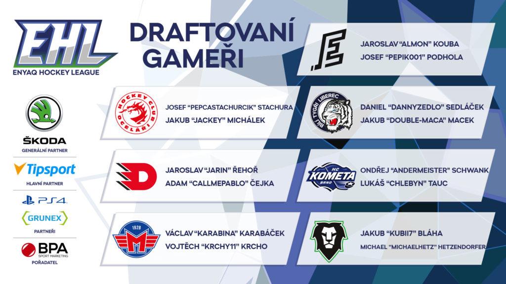 České hokejové kluby draftovaly své esport hráče pro ENYAQ Hokejovou Ligu ilustrace2 ehl draft