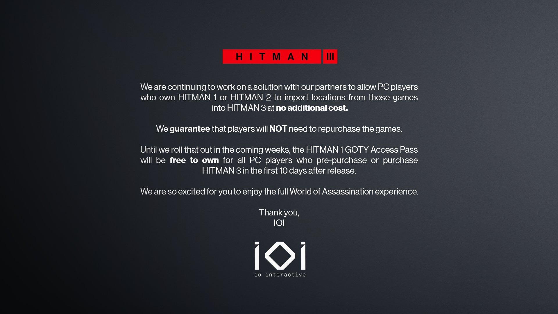 Aktualizováno: Hitman 3 a přenos úrovní z předchozích dílů 1 16