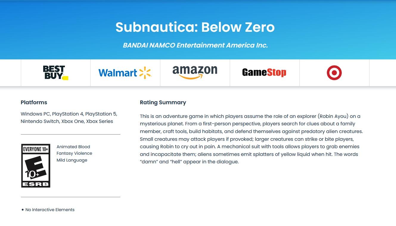 Subnautica: Below Zero zřejmě na více platformách ESRB