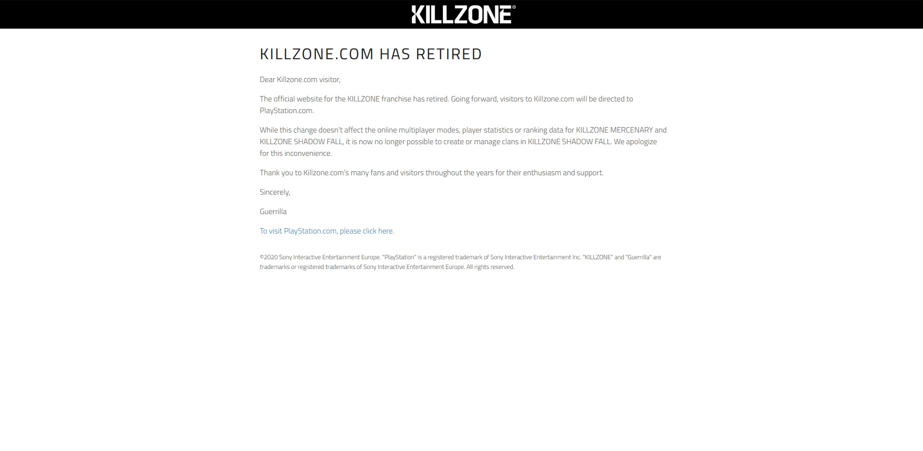 Zrušena oficiální stránka pro Killzone Killzone website