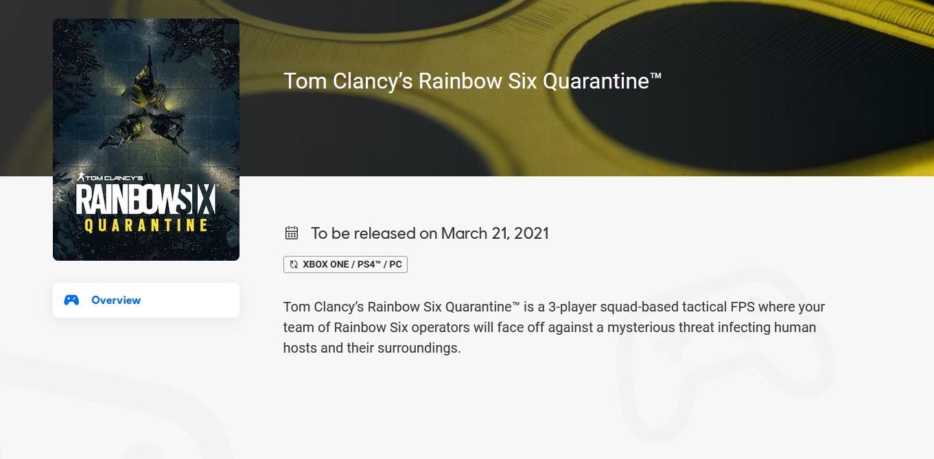 Odhaleno datum vydání Rainbow Six Quarantine? Quarantine