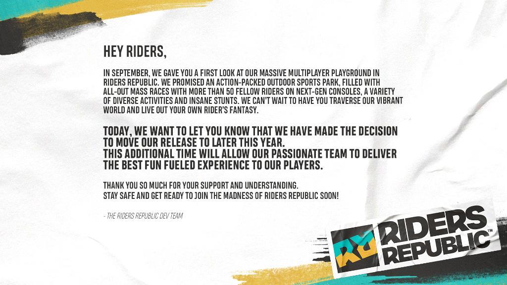 Adrenalinové Riders Republic odloženo Riders
