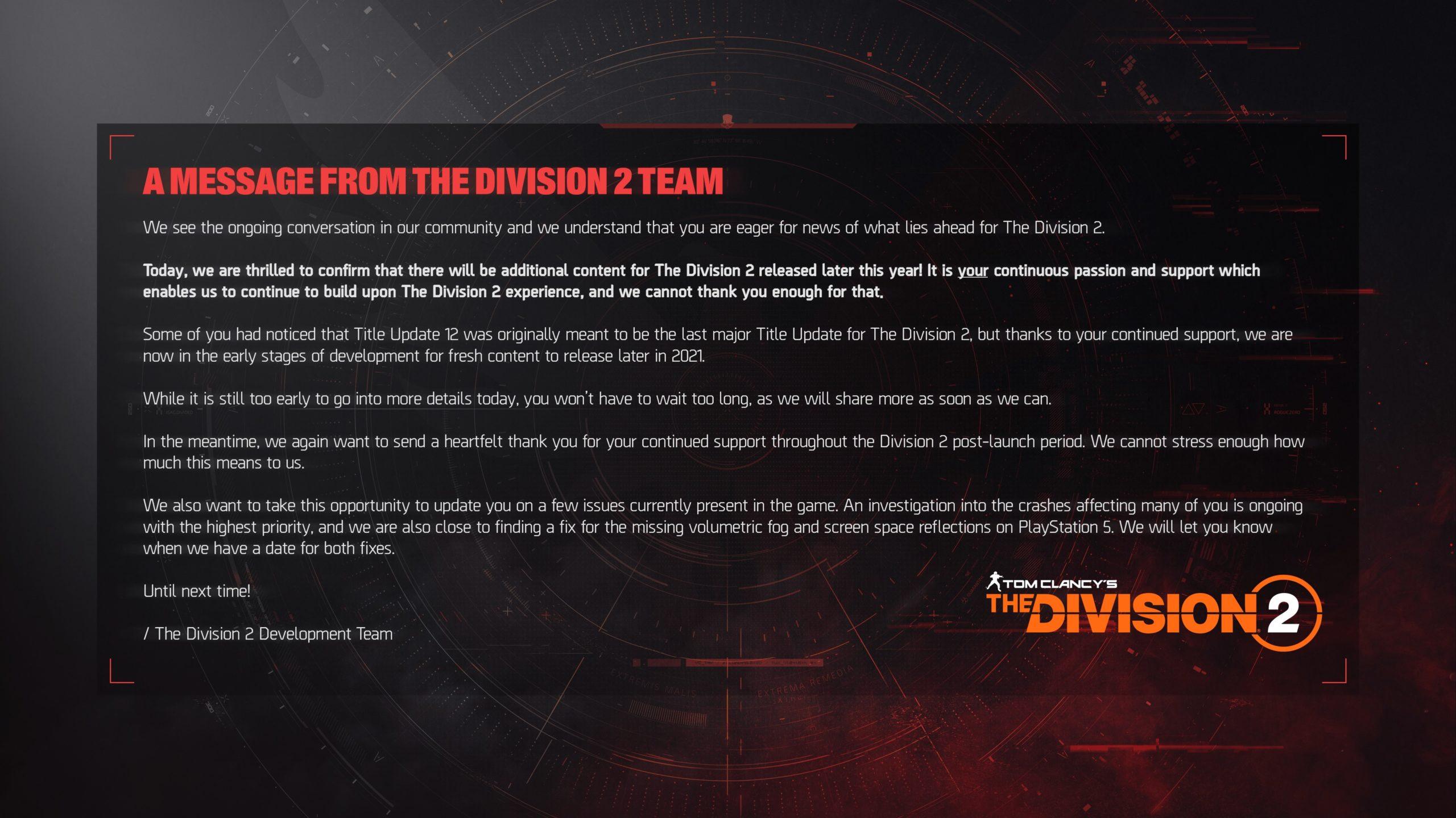 The Division 2 se letos dočká nového obsahu Division scaled