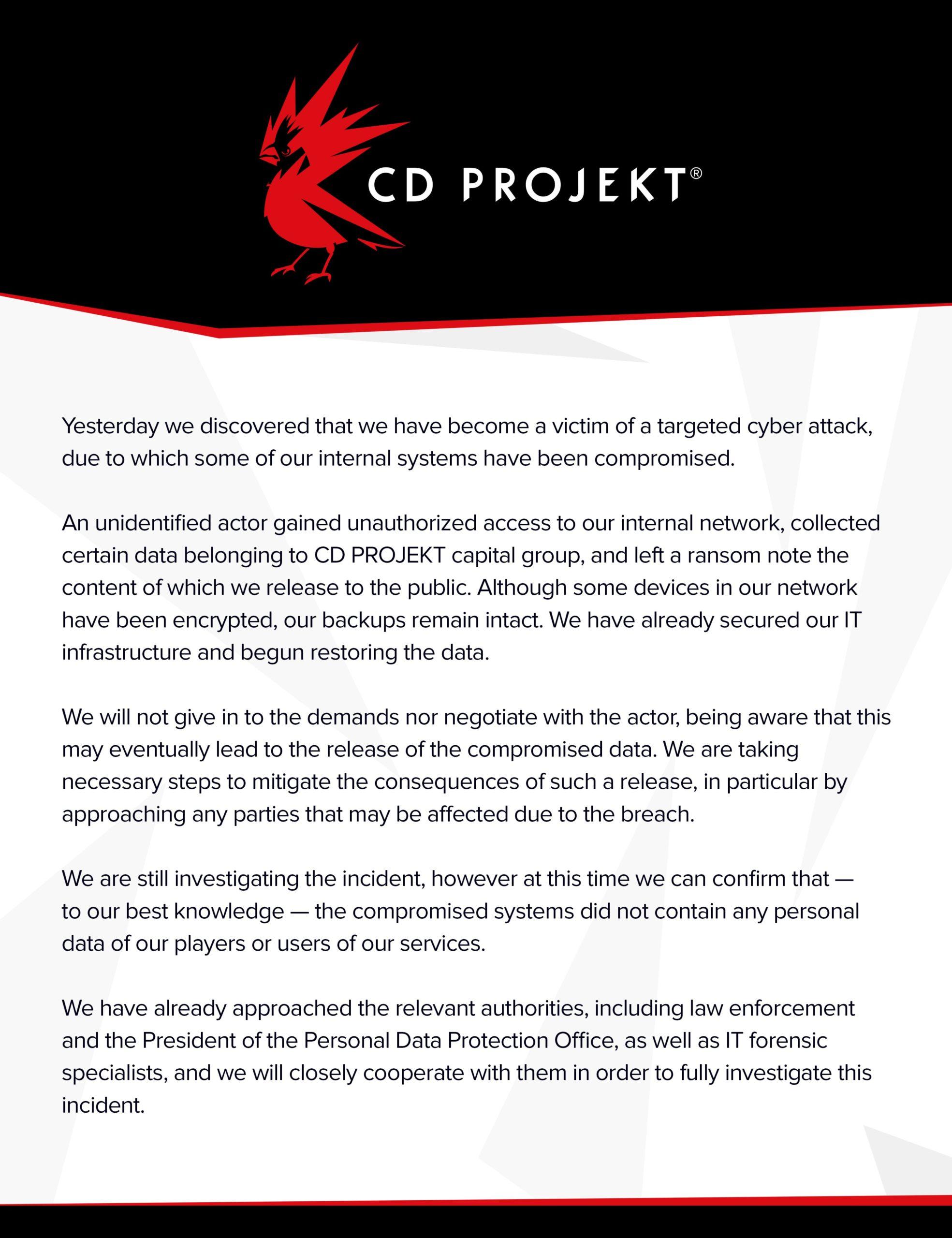 CD Projekt čelí masivnímu úniku dat a vydírání EtxNu UXEAE06Mq scaled