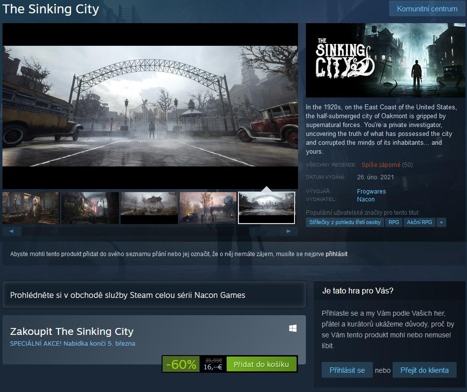 The Sinking City se vrátilo na Steam, má to ale háček Steam