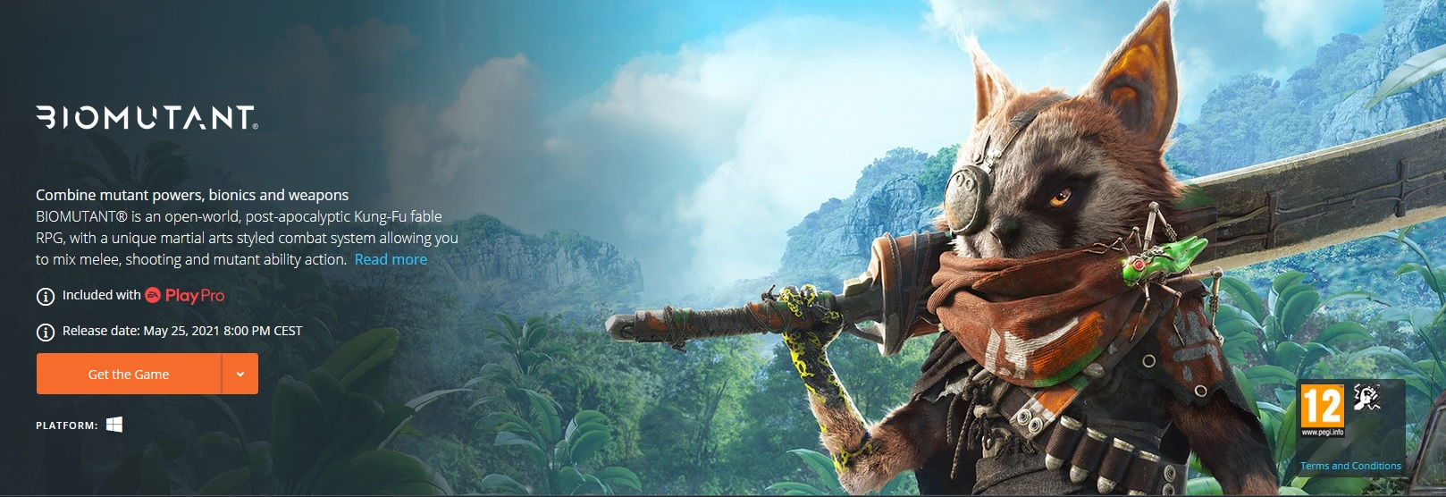 Biomutant bude součástí předplatného EA Play Pro Biomutant Origin