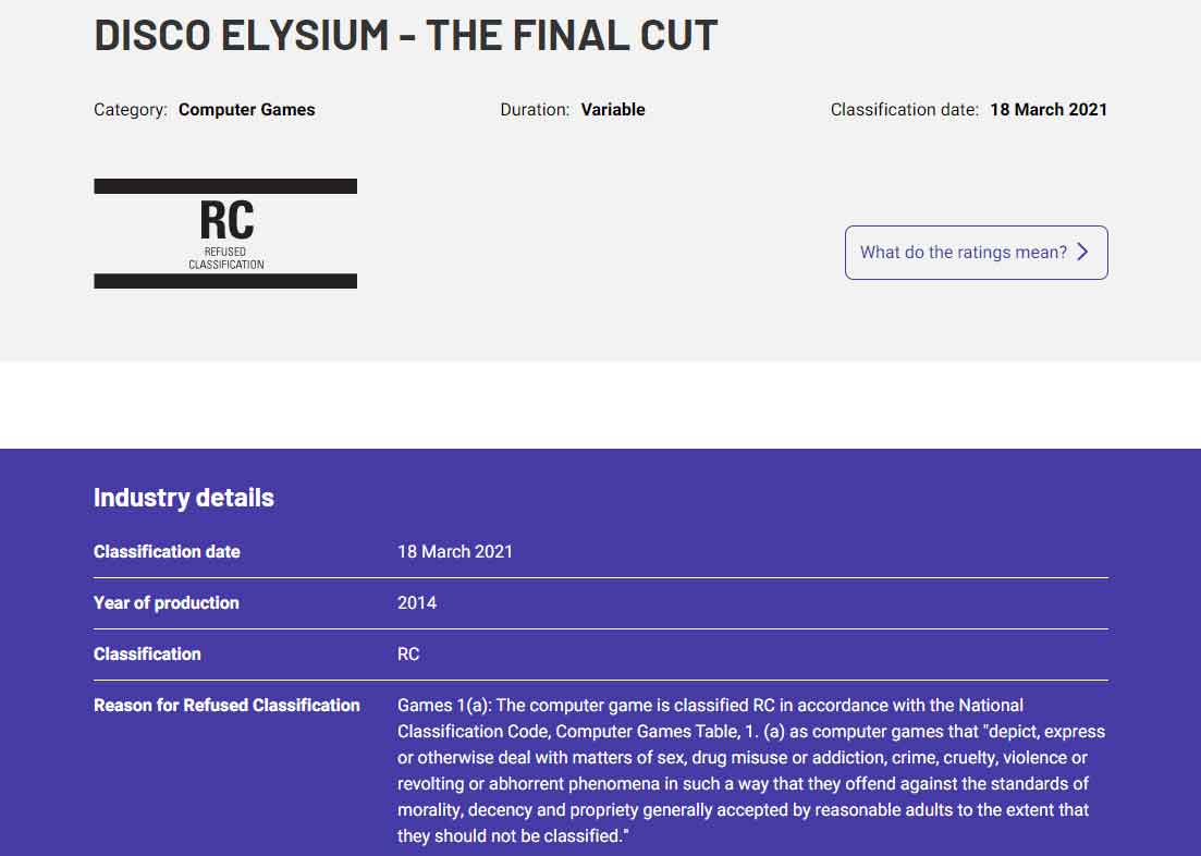 Disco Elysium: The Final Cut odmítnuto pro klasifikaci v Austrálii DE RF