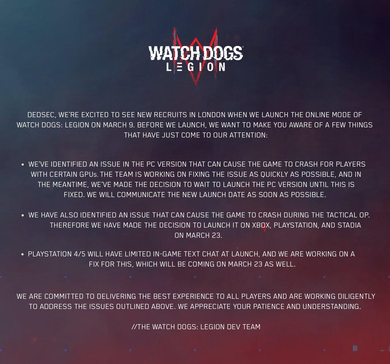 Online režim pro PC verzi Watch Dogs: Legion odložen WD