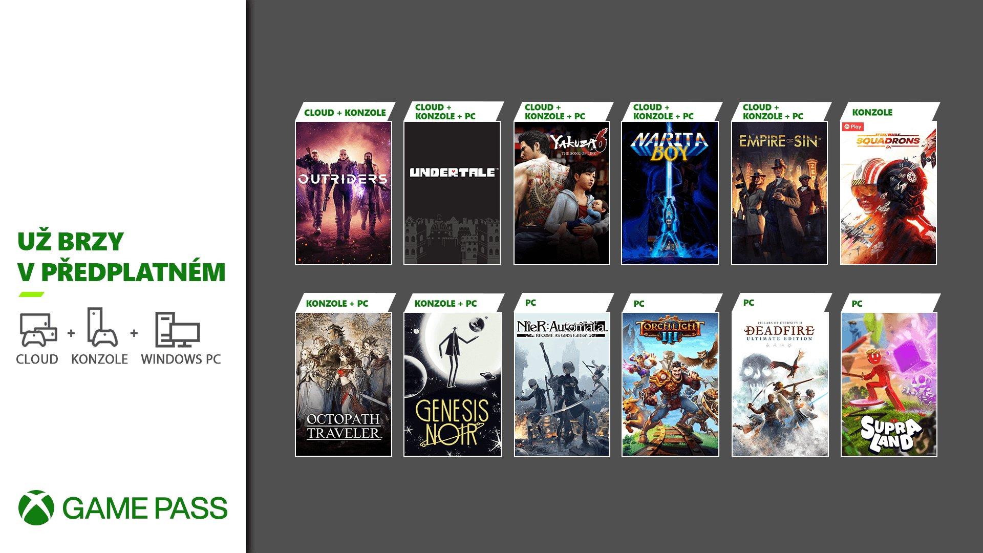 Další nálož her do Xbox Game Pass