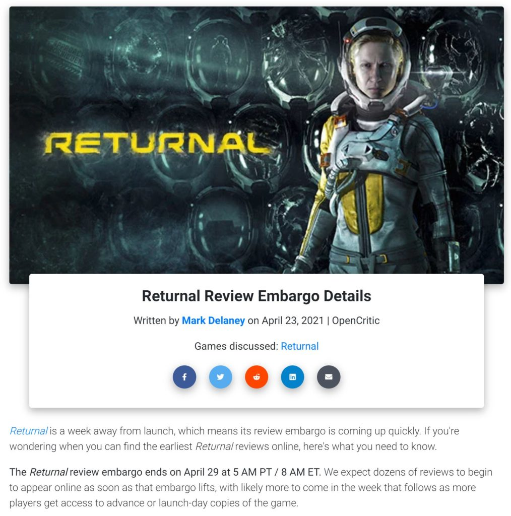 Termín recenze Returnalu a obavy novinářů rd