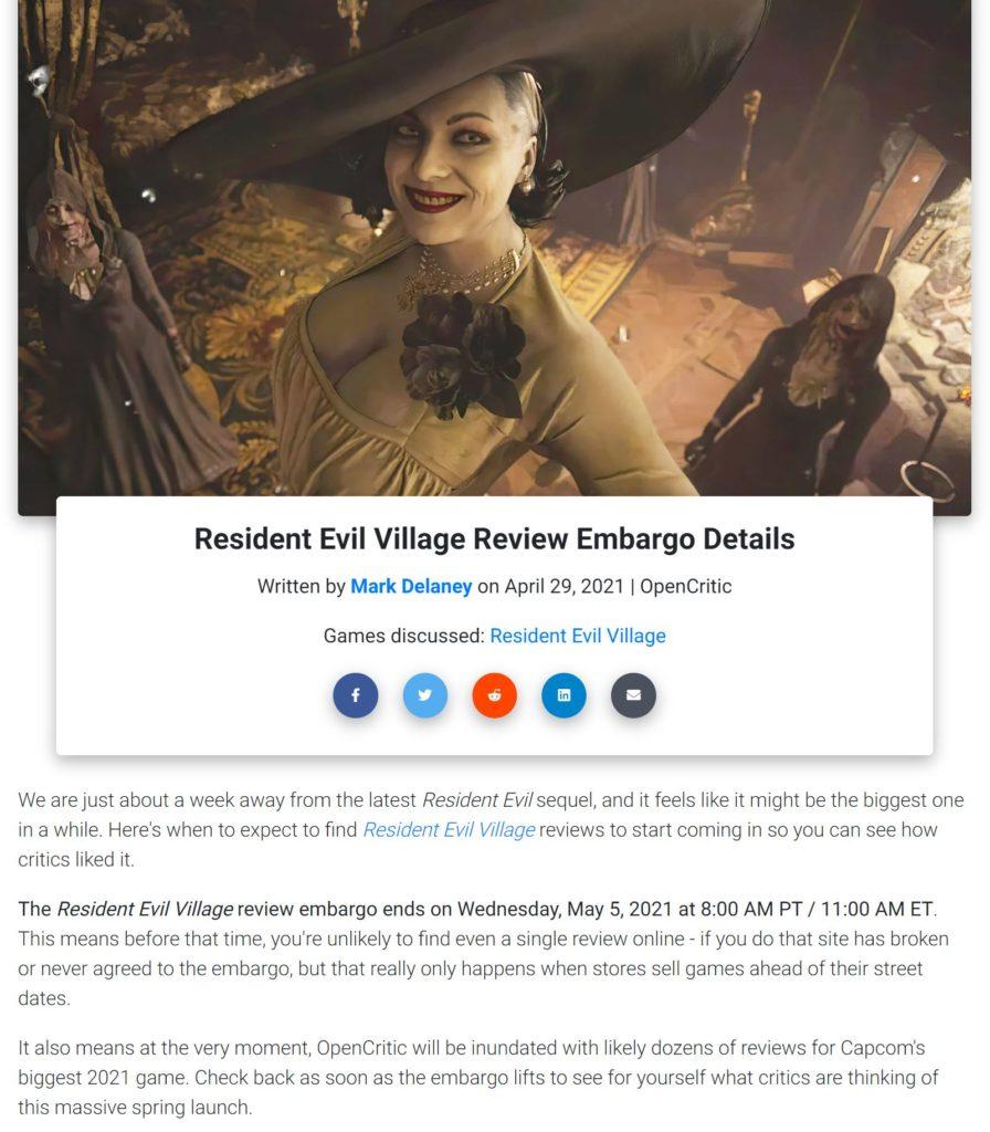 Údajný termín embarga recenzí Resident Evil Village resioc