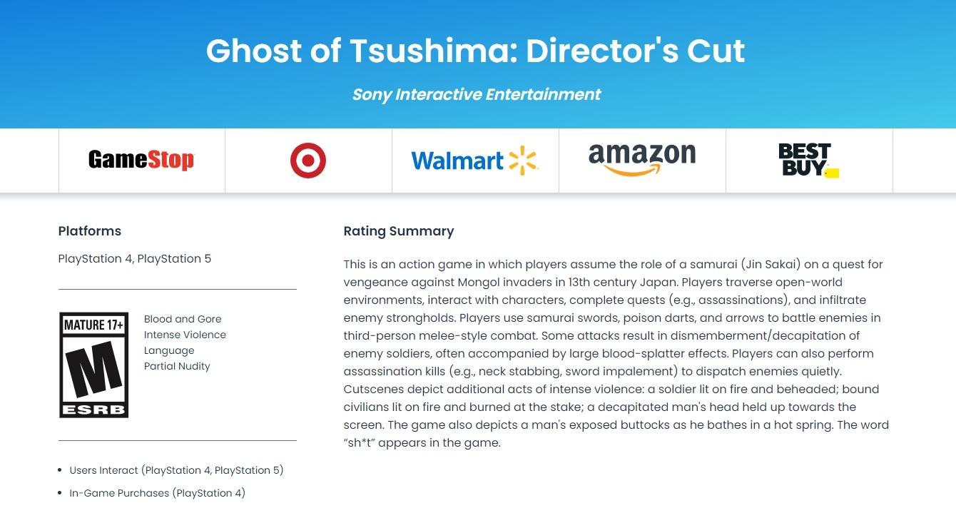 ESRB ohodnotilo Ghost of Tsushima: Director's Cut Directors