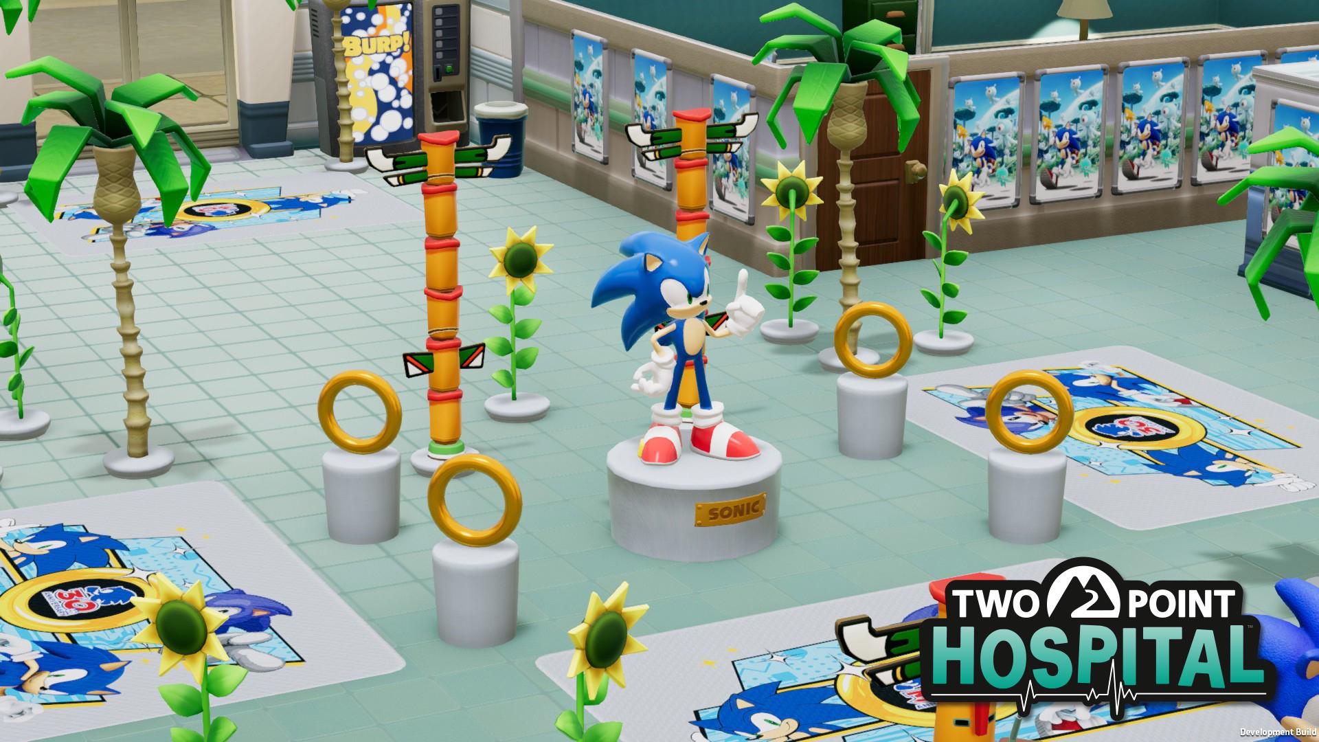 Sonic onemocněl a odvezli ho do Two Point Hospital Fotka Sonic
