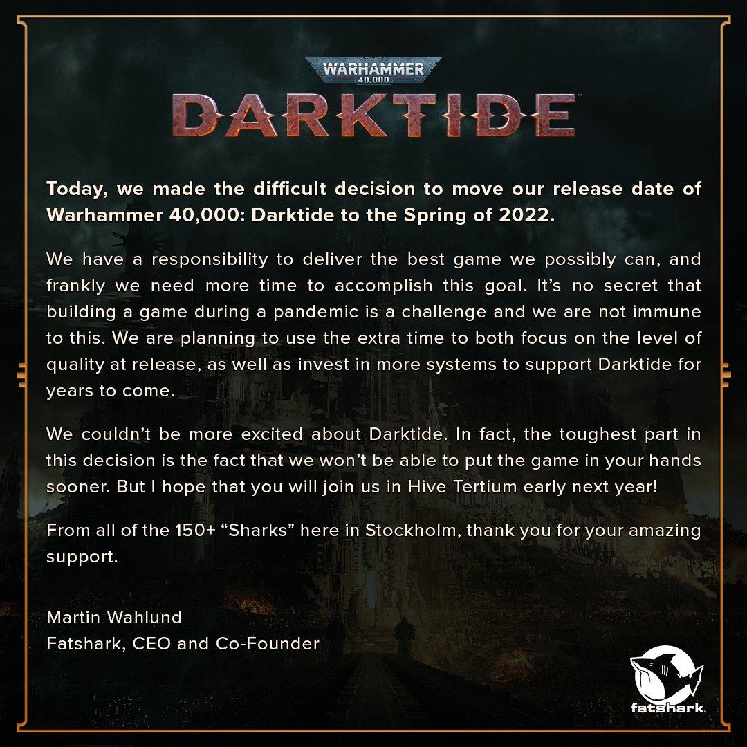 Warhammer 40,000: Darktide odloženo Odklad