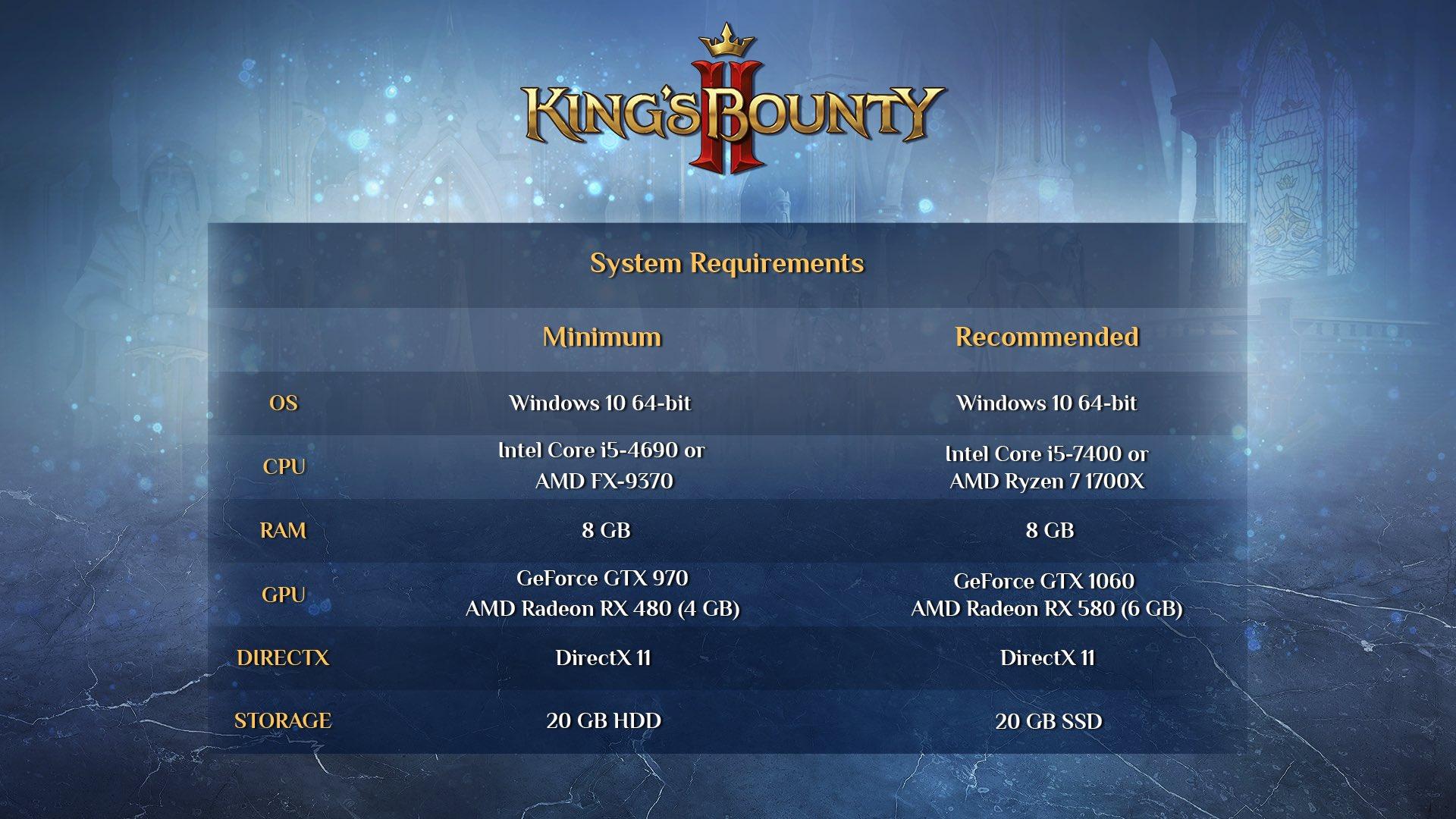 King's Bounty II je hotovo Specs