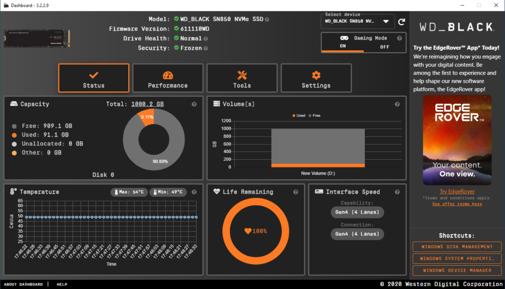 HW Test: WD_Black SN850 SSD disk app