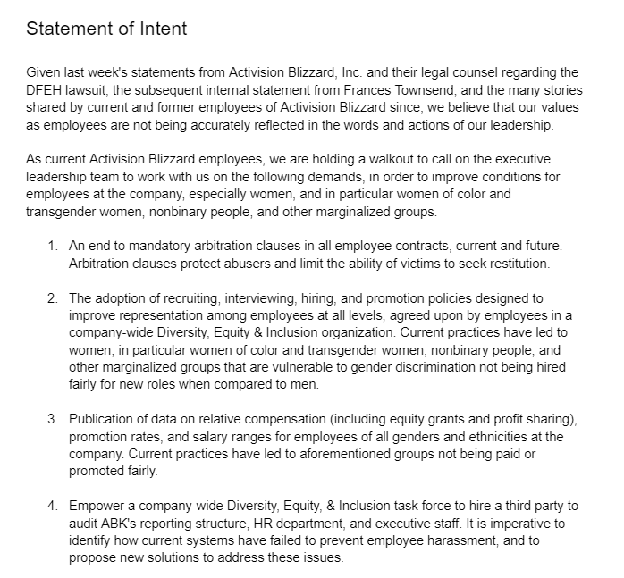 Summary: California state lawsuit against Activison Blizzard demands