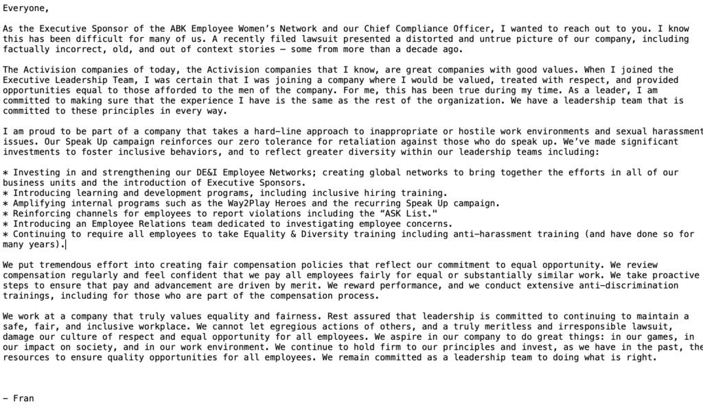 Executive summary: California state lawsuit against Activison Blizzard executive