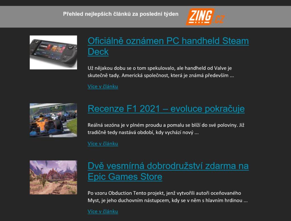 Herní novinky můžete odebírat i emailem herninovinkyemailem