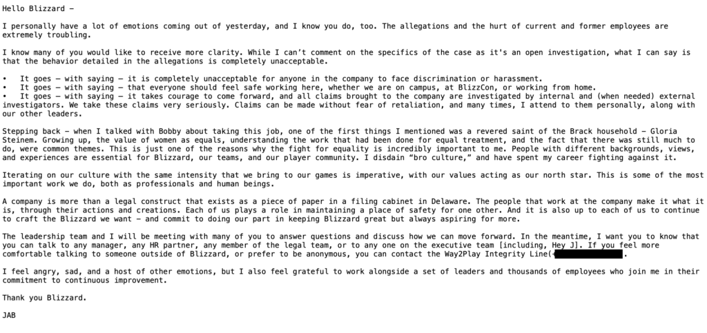 Executive Summary: California State Lawsuit Against Activison Blizzard President
