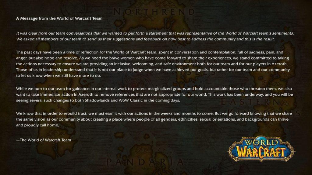 Summary: California lawsuit against Activison Blizzard wow