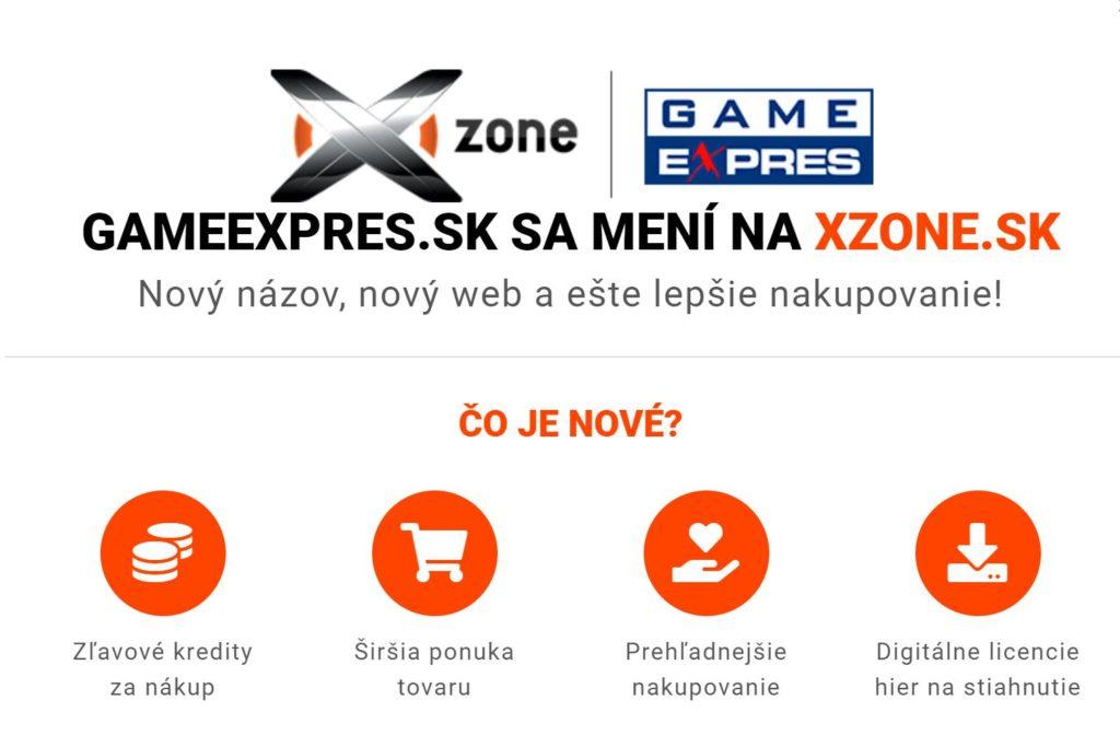 Herní obchod GameExpres.sk se mění na Xzone.sk xzonesk