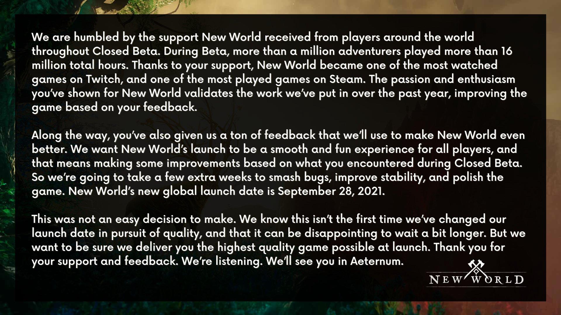 New World opět odloženo New World