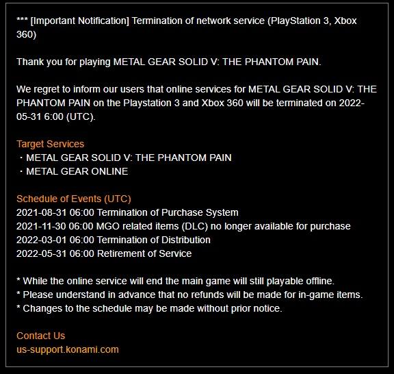 PS3 a X360 verze MGS V: The Phantom Pain přijdou o své online funkce Oznameni