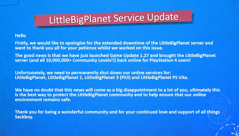 Série LittleBigPlanet přijde o online podporu na PS3 a PS Vita Update
