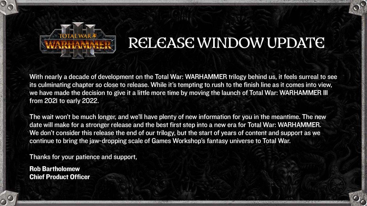 Total War: Warhammer III odložen Warhammer