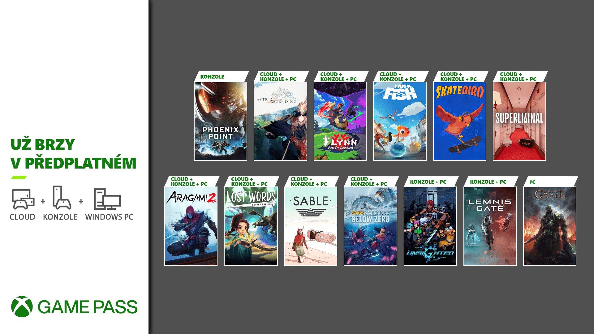 Xbox Game Pass vítá další hry Xbox pass