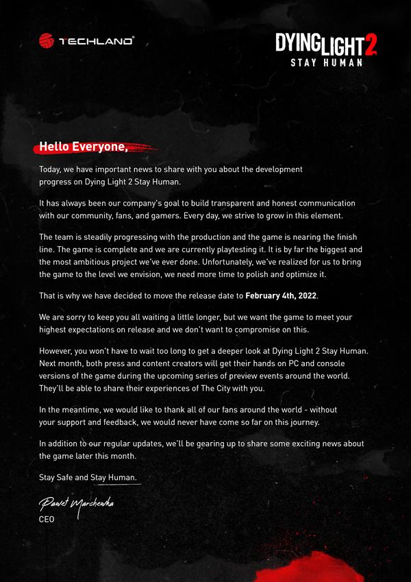 Dying Light 2 odloženo d