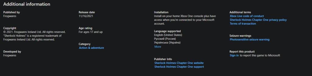 Uniklo datum vydání hry Sherlock Holmes: Chapter One msstore