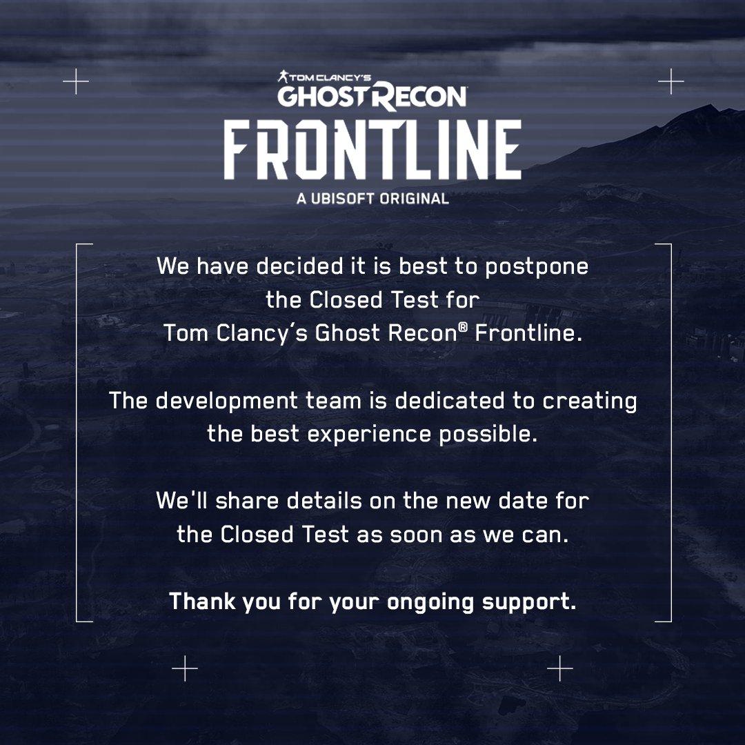 Uzavřený test pro Ghost Recon Frontline odložen GR beta